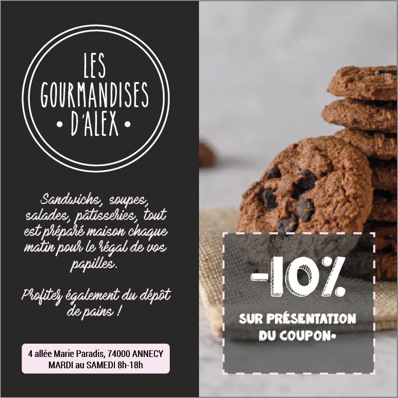 Les Gourmandises d'Alex salon de thé restaurant Annecy flyer promotionnel ouverture publication post réseaux sociaux facebook instagram projet Marwee consultant web Cruseilles