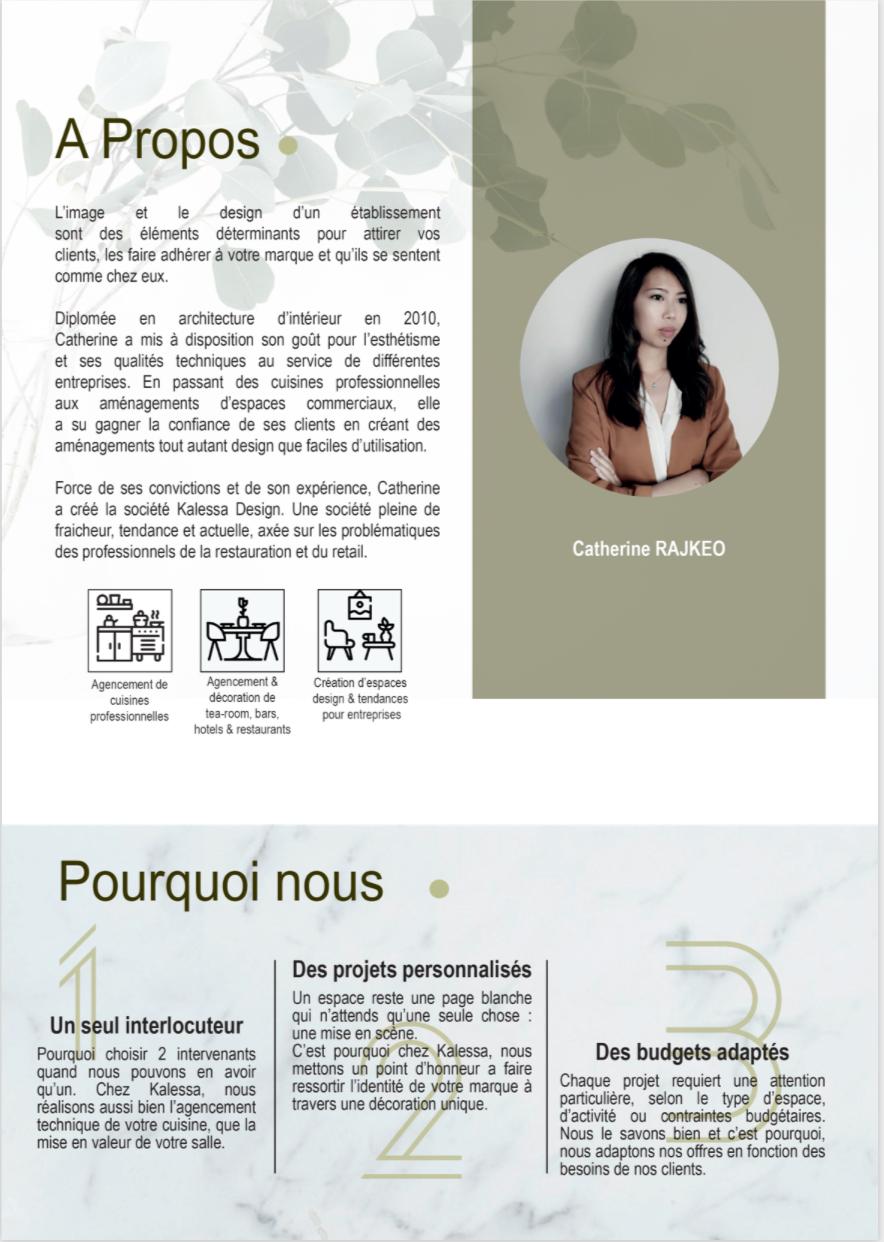 Kalessa design architecte intérieur plaquette print projet Marwee consultant marketing cruseilles