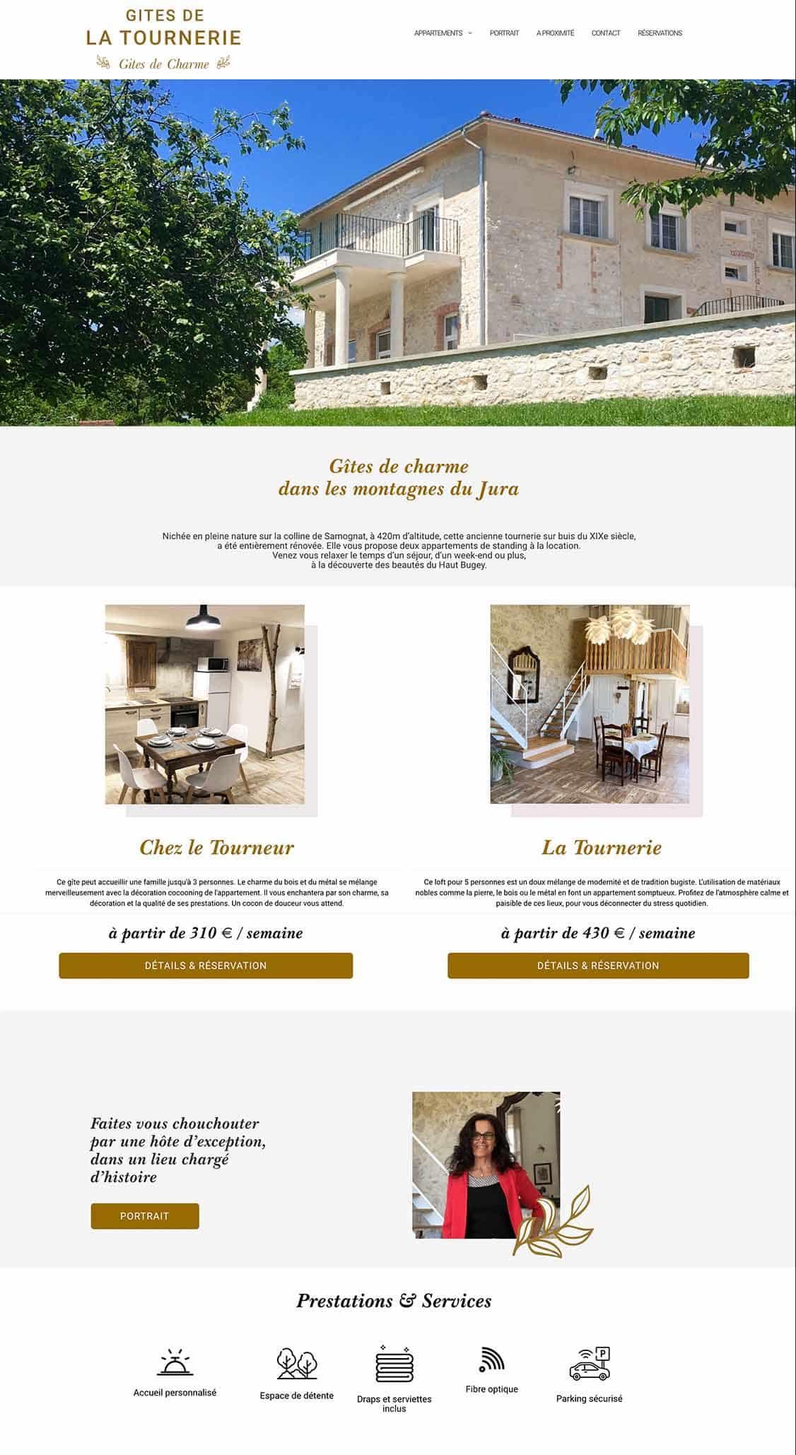 Gîtes La Tournerie projet site web, réservation en ligne, e-commerce, seo, stratégie digitale, référencement, structure UX projet Marwee consultant web Cruseilles