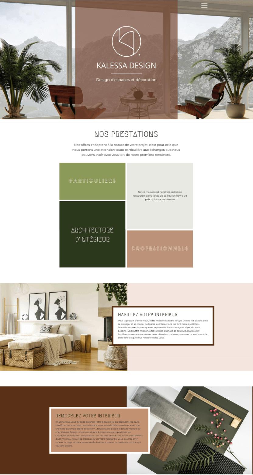 Kalessa Design architecte intérieur projet site web, one page, création contenu, seo, stratégie digitale, référencement, structure UX projet Marwee consultant web Cruseilles