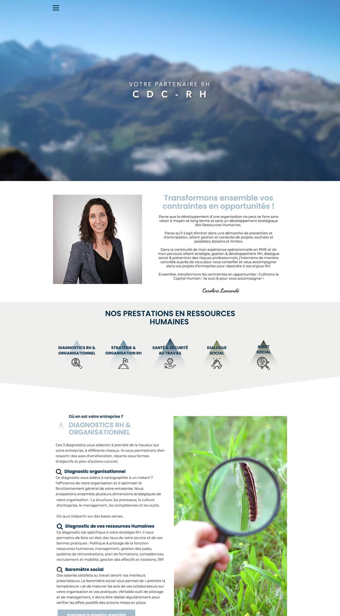 CDC-RH projet one page, site web, seo, stratégie digitale, référencement, structure UX projet Marwee consultant web Cruseilles